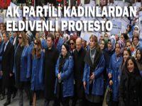 Ak Partili Kadınlar'dan eldivenli protesto