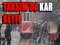 Taksim'de kar keyfi